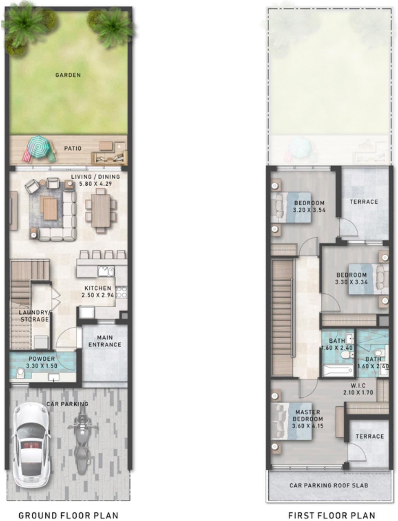 Floor Plans of DAMAC Lagoons Townhouses